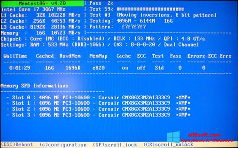 Ekrano kopija MemTest Windows 8