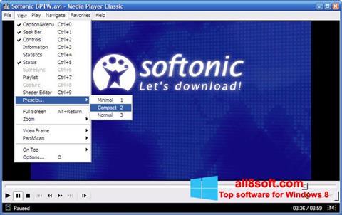 Ekrano kopija Media Player Classic Windows 8
