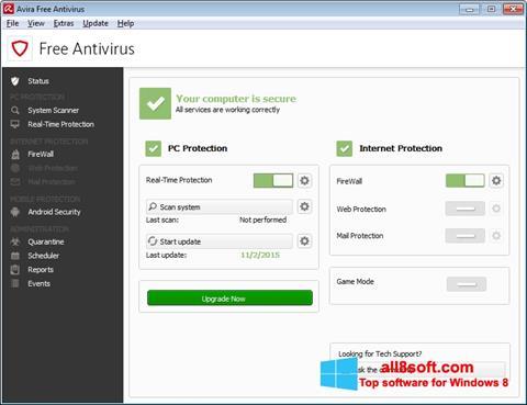 Ekrano kopija Avira Free Antivirus Windows 8
