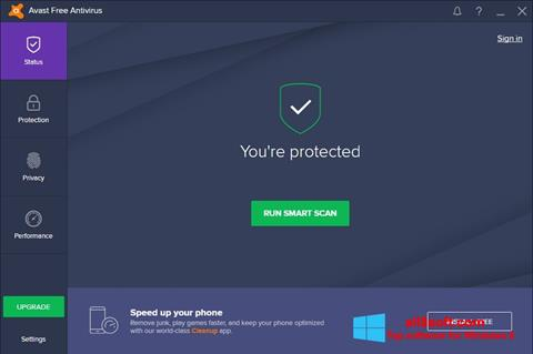 Ekrano kopija Avast Free Antivirus Windows 8